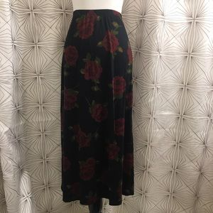Long Black Skirt w/ Red Roses